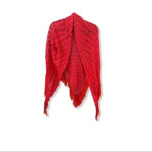 Crocheted Cape Wrap Red